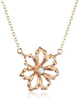 Cherry Brown 10 ct Yellow Gold White Diamond Flower Necklace of Length 40 cm