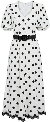Andrew Gn Belted Lace-trimmed Polka-dot Silk-crepe Midi Dress