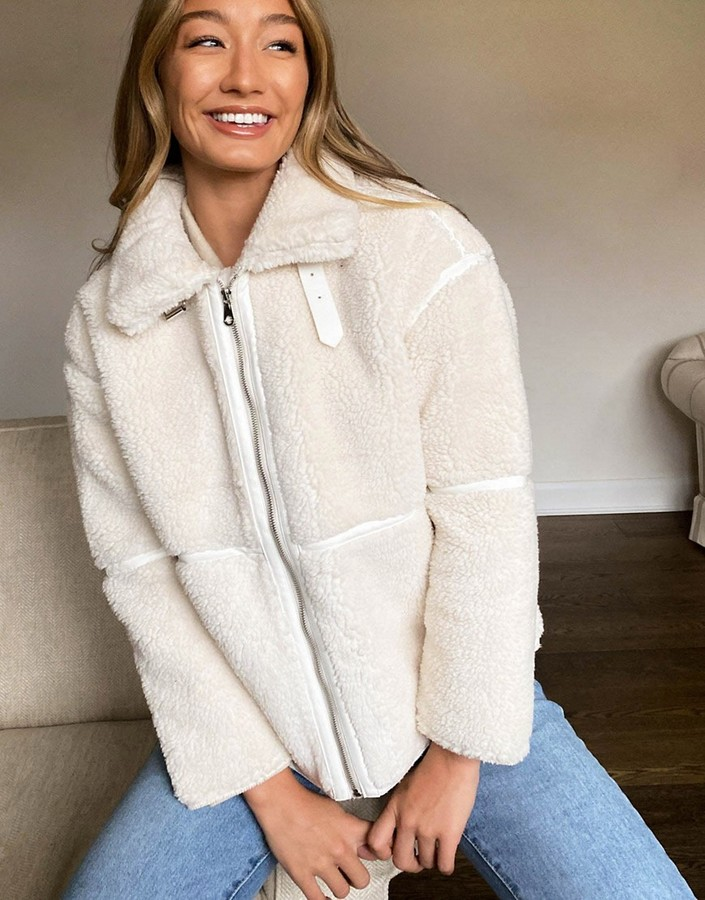 Thumbnail for your product : Qed London teddy jacket with panel detail in cream