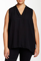 Vince Camuto Pleated Front Sleeveless Blouse (Plus Size)