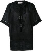 Veronique Branquinho neck-tie top - women - Cotton/Linen/Flax - 36