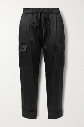 CAMI NYC The Carmen Silk-blend Charmeuse Track Pants - Black