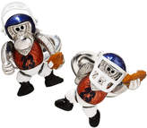 Jan Leslie Moving Football Player Monkey Cufflinks, Silver/Multi