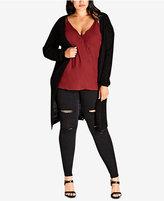 City Chic Trendy Plus Size Cutout-Back Cardigan