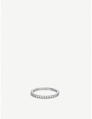 De Beers Classic platinum and pave diamond wedding band, Size: 51mm, platinum