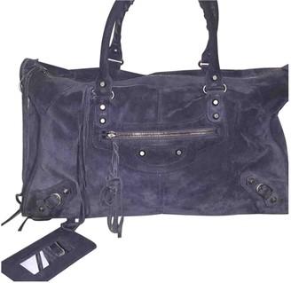 Balenciaga Weekender Navy Suede Handbags