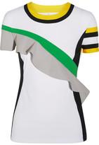 NO KA 'OI No Ka'Oi - Nana Ruffled Color-block Stretch-jersey T-shirt - White