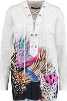 Roberto Cavalli Lace-Up Printed Cotton Top