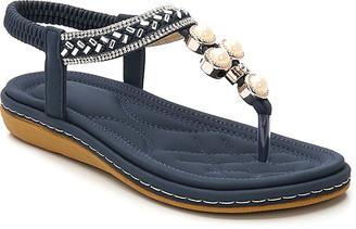 Siketu Women's Sandals Navy - Navy Pearl Metallic Rhinestone Braid T-Strap Sandal - Women
