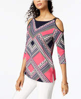 JM Collection Petite Cold-Shoulder Embellished Tunic, Created for Macy's