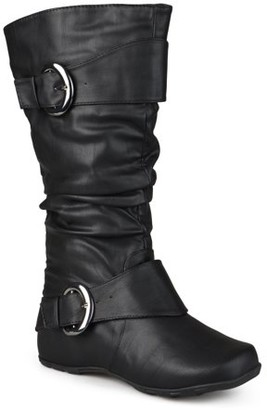Brinley Co. Women's Extra Wide Calf Knee High Slouch Buckle Boots