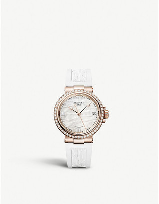 Breguet 9518BR/52/584/D000 Marine Dame 18ct rose-gold, diamond and mother-of-pearl quartz watch