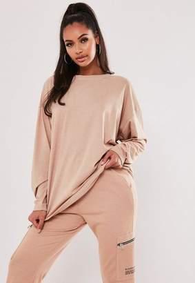 Missguided Sand Long Sleeve Drop Shoulder T Shirt