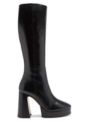 Gucci Madame Block-heel Leather Platform Boots - Black