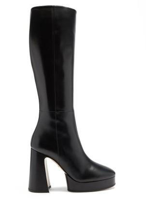 Gucci Madame Leather Knee-high Platform Boots - Black