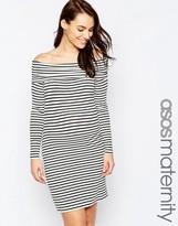 Asos Off Shoulder Dress In Stripe