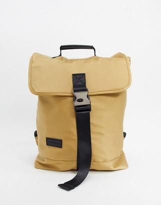 Consigned Large Clip Front Pocket Satin Backpack