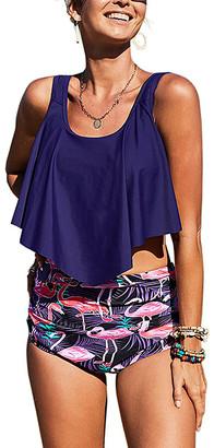Zesica Women's Bikini Bottoms Blue - Blue Flamingo Crop Ruffled Overlay High-Waist Tankini - Women