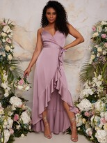 Thumbnail for your product : Chi Chi London Ruffle Detail Wrap Bridesmaid Dress - Lilac