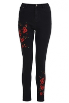 Quiz Black Flower Embroidered Skinny Jeans