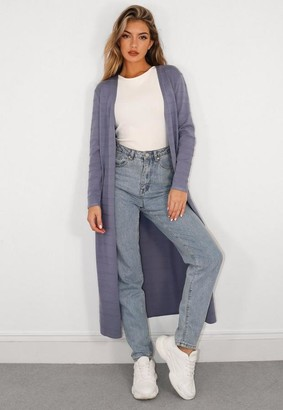 Missguided Blue Textured Knit Midaxi Cardigan