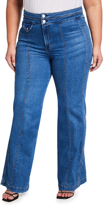 Veronica Beard Plus Size Ember Wide-Leg Jeans w/ Seam Detail