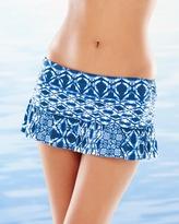 Soma Intimates Tangier Tile Skirted Swim Hipster Bottom Blueberry
