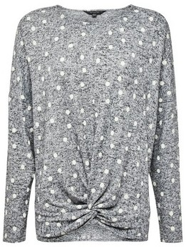Dorothy Perkins Womens Grey Spotted Brushed Batwing Jumper, Grey