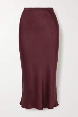 Anine Bing Bar Silk-satin Midi Skirt - Burgundy