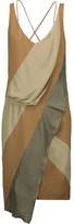 Belstaff Erin asymmetric silk satin-trimmed twill and crepe dress