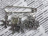 Thread Squirrel Personalised Snowflake Christmas Brooch Pin