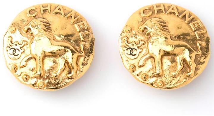 Chanel lion coin earrings