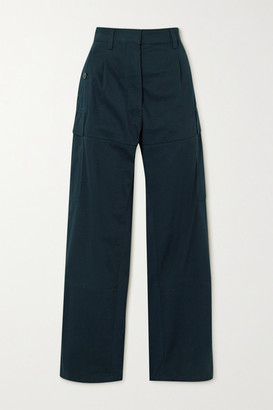 Loewe Pleated Cotton-twill Cargo Pants - Navy