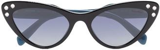 Miu Miu black cat eye rhinestone embellished sunglasses