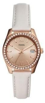 Fossil Scarlette Mini Rose Goldtone Stainless Steel, Swarovski Crystal & Leather-Strap 3-Hand Watch