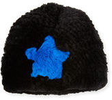 Jocelyn Star Rabbit Fur Beanie, Black/Blue