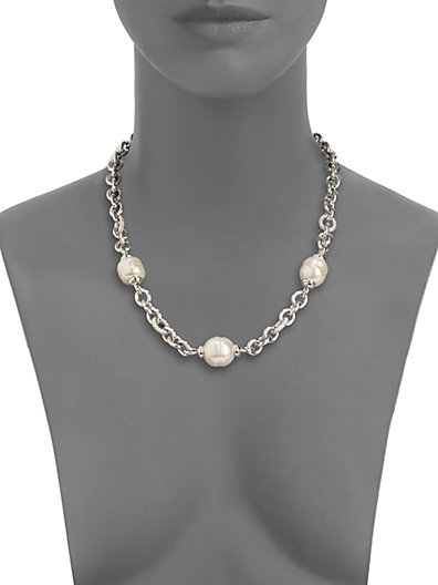 Majorica 14MM-16MM White Baroque Pearl Station Necklace