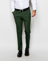Asos Skinny Suit Trousers In Green - Green
