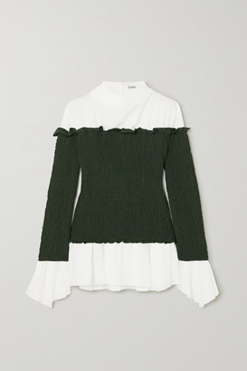 Loewe Layered Smocked Crepe And Cotton-blend Poplin Blouse - White