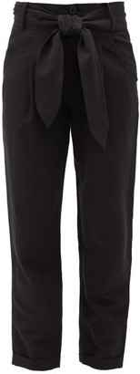 Apiece Apart Bendita Tie-front Linen-blend Trousers - Black