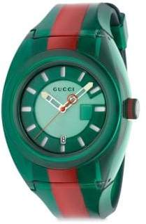 Gucci Transparent Nylon& Striped Rubber Strap Watch/Green