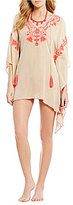 Gianni Bini Solid Embroidered Tunic Cover-Up