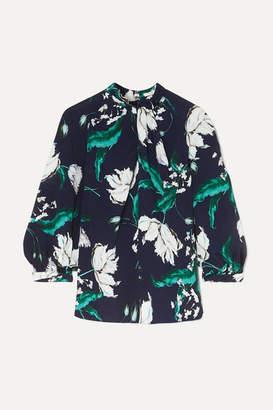 Erdem Arlette Twist-front Floral-print Crepe Blouse - Navy