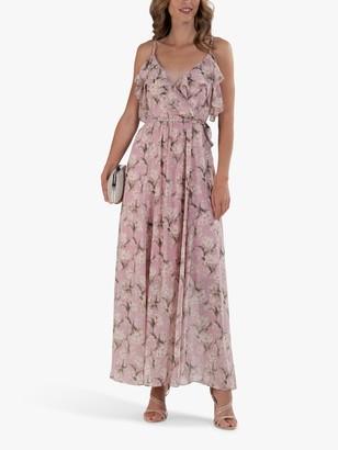 Jolie Moi Spaghetti Strap Floral Print Ruffle Maxi Dress, Pink/Multi