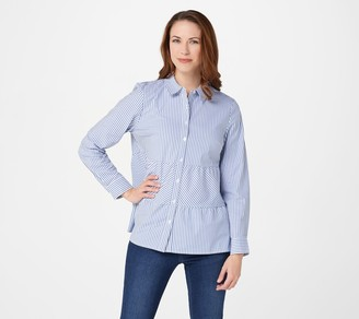 Denim & Co. Yarn Dye Striped Poplin A-Line Tiered Shirt