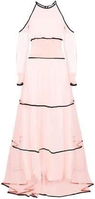 True Decadence Peach Sheer Cold Shoulder Maxi Dress Contrast Trim