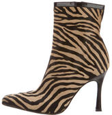 Versace Ponyhair Square-Toe Ankle Boots