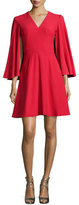 Alexander McQueen Cape-Sleeve V-Neck Mini Dress, Blazer Red