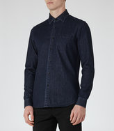 Reiss Reiss Harison - Slim-fit Denim Shirt In Blue