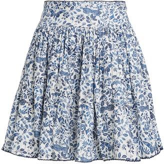 Agua Bendita Agua By Tropic Paisley Linen Mini Skirt